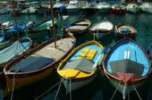 Lines of boats in sunlight in Port of Nice, France — Stock Photo
