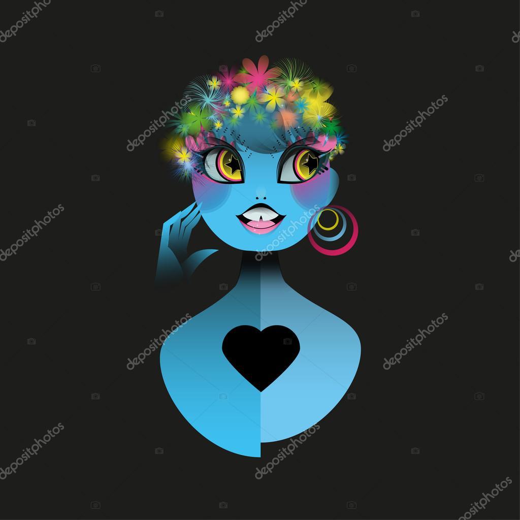 fluorescente fille avec les fleurs du paradis — image vectorielle