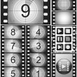Постер, плакат: Vintage movie countdown on a 35mm silent film and 135 film frame