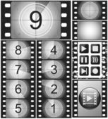 Vintage movie countdown on a 35mm silent film and 135 film frame — Stock Vector