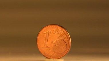 Copper 1 cent euro — Stock Video