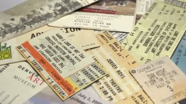 A collection of concert tickets. — Vídeo Stock