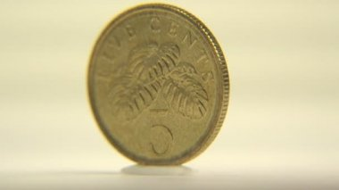 One cent coin of Singapore — Stock Video