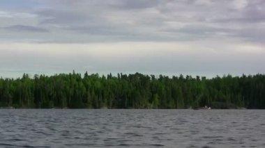 Fishing Boat Trolling Lake — Stock Video