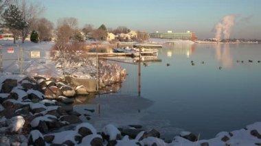 Lake near a factory — Stock Video
