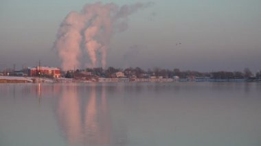 Factory Pollution over Lake — Stock Video