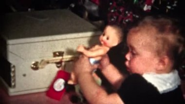 Child with Doll Christmas — Stock Video