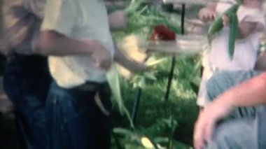 Family on Picnic with Corn — Stock Video