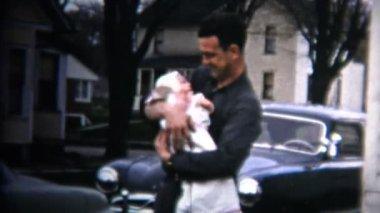 Dad holding his newborn baby — Stock Video