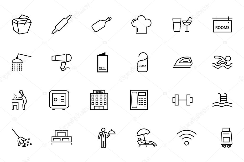 Hotel and restaurant line icons — stock vector
