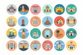 Buildings Flat Colored Icons 2 — Stock Vector