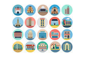 Buildings Flat Colored Icons 4 — Stock Vector