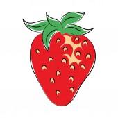 Strawberry Hand Drawn Colored Vector Icon — Stock Vector