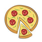Pizza gekleurde schetsmatig vector pictogram — Stockvector