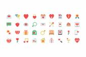 Valentine Colored Icons 1 — Stock Vector