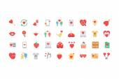 Valentine Colored Icons 2 — Stock Vector