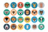 Animals Flat Colored Icons 2 — Stock Vector