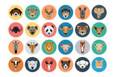 Animals Flat Colored Icons 1 — Vetor de Stock