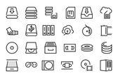 Data Storage Vector Line Icons 3 — Stock Vector