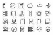 Data Storage Vector Line Icons 1 — Stock Vector
