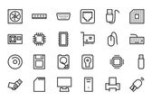 Computer Hardware Vector Line Icons 1 — Stock Vector