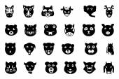 Animal Faces Vector Icons 2 — Stock Vector
