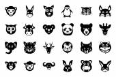 Animal Faces Vector Icons 1 — Stock Vector