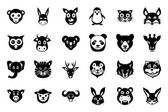 Animal Faces Vector Icons 1 — Stock Vector