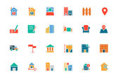 Real Estate Colored Vector Icons 2 — Stock Vector