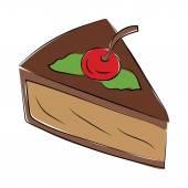 Dessert Hand Drawn Colored Vector Icon — Stock Vector