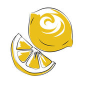 Lemon Colored Sketchy Vector Icon — Stock Vector