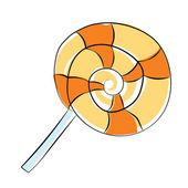Lollipop Hand Drawn Colored Vector Icon — Stock Vector