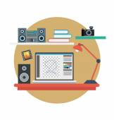 Work Station Vector Illustration — Stock Vector