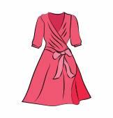 Woman Dress Colored Vector Icon — Stock Vector