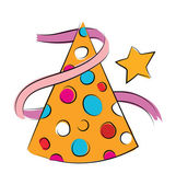 Party Hat Sketchy Colored Vector Icon — Stock Vector