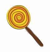 Swirl Lollipop Hand Drawn Colored Vector Icon — Stock Vector