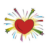 Heart Firework Hand Drawn Colored Vector Icon — Stock Vector