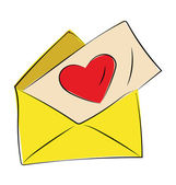 Love Letter Colored Sketchy Vector Icon — Stock Vector