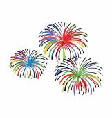 Firework Hand Drawn Colored Vector Icon — Stock Vector
