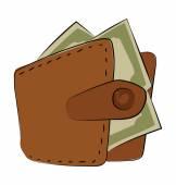 Wallet Hand Drawn Vector Icon — Stock Vector