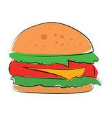 Burger Colored Vector Icon — Stock Vector