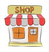 Shop Colored Sketchy Vector Icon — Stock Vector