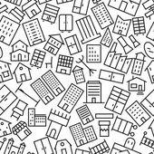 Здания и мебель бесшовные наброски значок шаблона — Cтоковый вектор