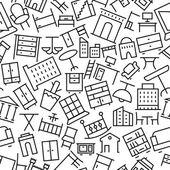 Здания и мебель ручной обращается наброски значок шаблона — Cтоковый вектор