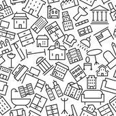 Здания и мебель ручной обращается значок шаблона — Cтоковый вектор