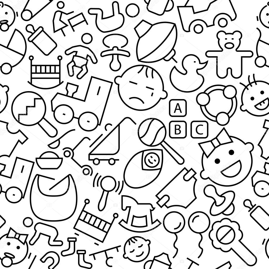 Cute Baby Stuff Hand Drawn Outline Icons Pattern — Stock ...