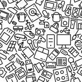 Electronics Seamless Hand Drawn Icon Pattern — Stock Vector