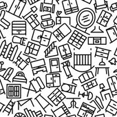 Furniture Sketchy Seamless Outline Icon Pattern — Stock Vector