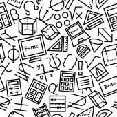 Mathematics Seamless Hand Drawn Icon Pattern — Stock Vector