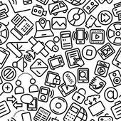 Media sömlös Hand dras ikonen mönster — Stockvektor